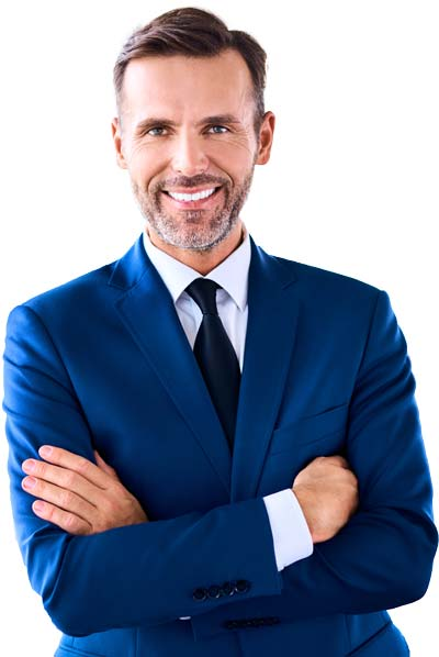 Smiling Male Business Tax Prep Professional In Blue Blazer