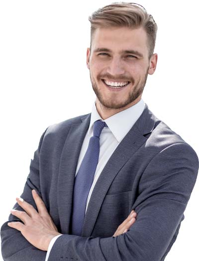 Smiling Male Payroll Professional In Dark Suit Coat