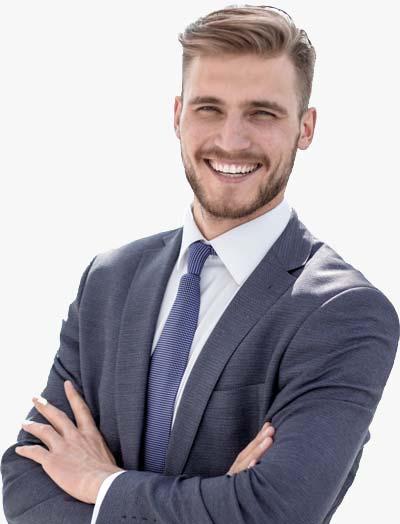 Smiling Male Tax Planning Professional In Dark Blazer