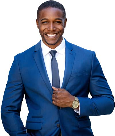 Smiling Male Business Consultant In Dark Blue Suit Coat