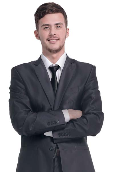 Smiling Male Business Professional In Dark Suit Coat