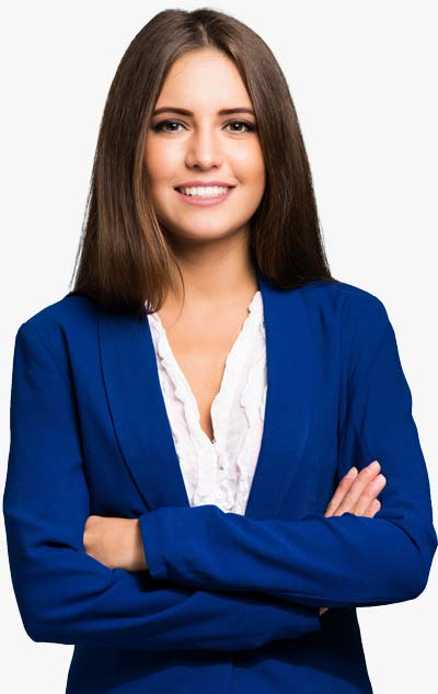 Smiling Female Bookkeeping Professional In Blue Blazer
