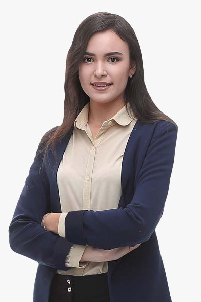 Smiling Female Business Tax Prep Professional In Dark Blue Blazer