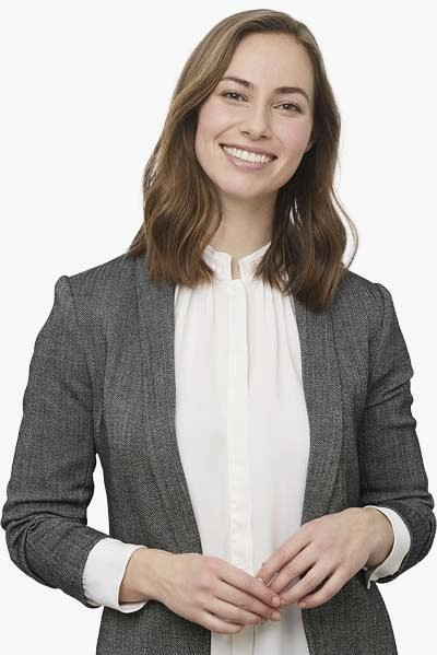 Smiling Female Business Professional In Grey Blazer