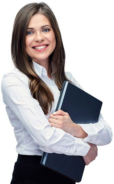 Smiling Female Tax Resolution Professional Holding A Closed Laptop
