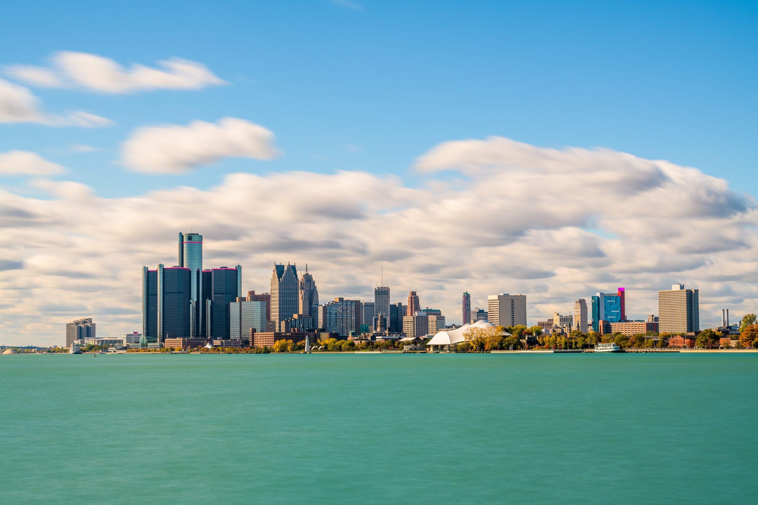 Detroit, Michigan, USA downtown city skyline